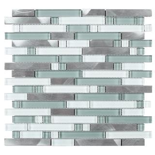 TileGen. Series Thread Random Sized Mosaic Tile in Blue/White Wall Tile (10 sheets/9.6sqft.)