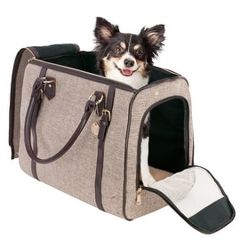 Frontpet Luxury Pet Carrier. High End Sleek Dog and Cat Hand Bag- Free Dog Collar Charm Included!