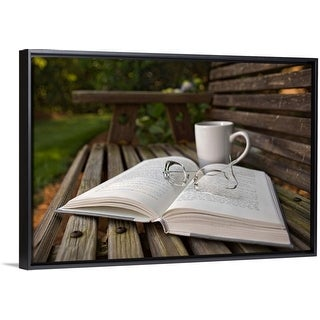 """""""Still life of open Book, eyeglasses and coffee cup on wooden bench"""" Black Float Frame Canvas Art"""