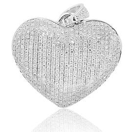 1.00ctw Diamond Heart Pendant 10K White Gold 28mm Tall Puffed with Pave Diamonds(i2/i3, i/j)