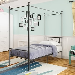 Teraves Twin/Full/Queen Metal Canopy Bed Replacement ,Four-post Canopy Bed Frame Platform ,Multiple Colors