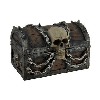 Treasure Chest of Terror Spiked Skull & Chains Pirate's Chest Trinket Box 6 In. - 4 X 6 X 3.75 inches