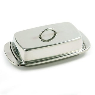 Norpro Durable Stainless Steel Double Wide Covered Butter Dish with Lid