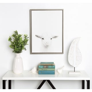 Kate and Laurel Sylvie Baby Goat Framed Canvas by Simon Te Tai