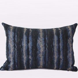 """Gentille Home Collection Luxury Blue Mix Color Stripe Pattern Metallic Chenille Pillow 14""""X20"""""""