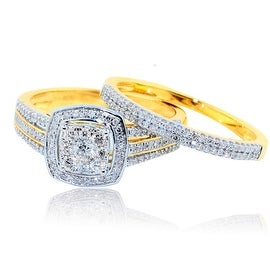 1/2cttw Diamond Bridal Wedding Ring Set 10K Yellow Gold Halo 2pc Set 9.5mm Wide(I/J Color 0.5cttw)