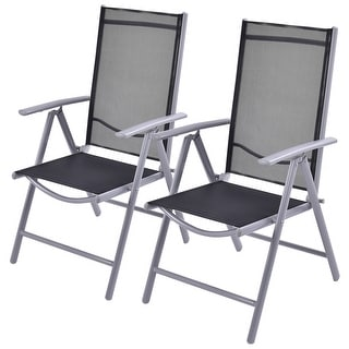 Costway Set of 2 Patio Folding Chairs Adjustable Reclining Indoor