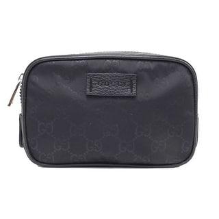 Gucci Small Black GG Logo Nylon Guccissima Toiletry Bag Travel Case 510341