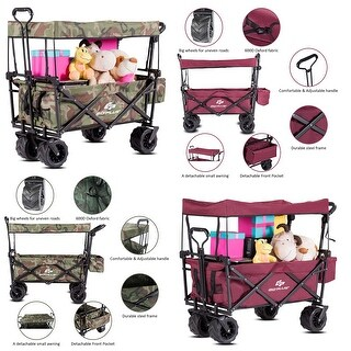 Goplus Collapsible Folding Wagon Cart W/ Canopy Outdoor Utility Garden Trolley Buggy camouflage colorWine red
