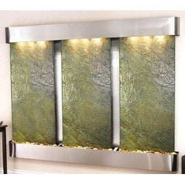 Adagio Deep Creek Falls Fountain w/ Green Natural Slate in Stainless Steel Finis