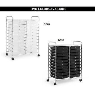 Costway 20 Drawers Rolling Cart Storage Scrapbook Paper Studio Organizer Bins Clear