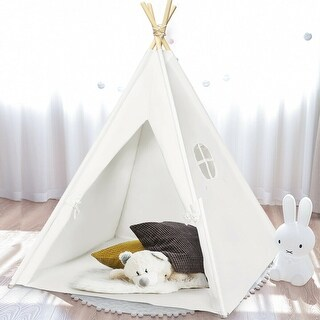 Gymax 5.5ft Portable Cotton Kids' Play Tent Indian Tent Game Sleeping House Boys Girls