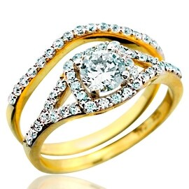 10K Bridal Wedding Rings Set 8mm Wide Round Solitaire Center 2pc Set 1.5ctw Cubic Zarcons