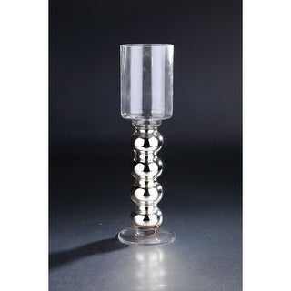 "16.5"" Silver Hand Blown Glass Hurricane Pillar Candle Holder"