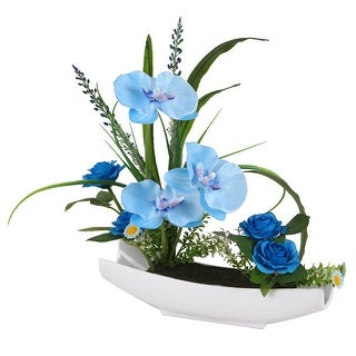 "15"" Potted Artificial Blue Orchid Flowers"