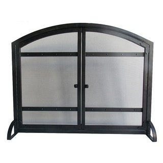 Pleasant Hearth FA338S Harper 1-Panel Fireplace Screen with Doors - Black Powder Coated