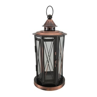 Polished Antique Copper Finish Metal and Glass Candle Lantern - 13 X 5.5 X 5.5 inches