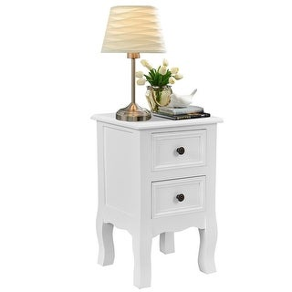 Costway White Night Stand w/ 2 Storage Drawers, Wood End Accent Table