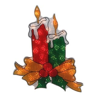 """17"""" Lighted Holographic Candle Christmas Window Silhouette Decoration"""