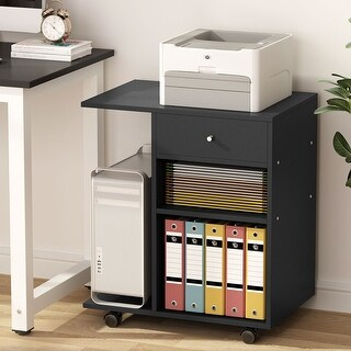 Mobile printer stand filing cabinet with cart and 4 wheel