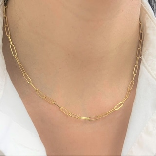 Gold Link Chain Necklace 14k Gold Made in Italy 3.4mm by Joelle Collection