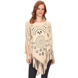 Womens Faux Suede Cut Out Pull Over Poncho