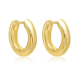 14K Yellow Gold Small Wide Hoop Earrings with Hidden Post (13MM)