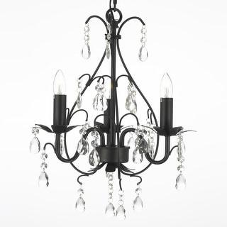 Wrought Iron & Crystal 3 Light Plug In Chandelier Lighting