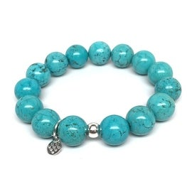 Turquoise Magnesite 'Classic Stone' stretch bracelet Sterling Silver