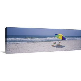 """Chairs on the beach, Gulf of Mexico, Alabama"" Canvas Wall Art"