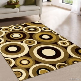 "AllStar Rugs Chocolate Carved Circles Modern Geometric Area Rug (5' 2"" x 7' 2"")"