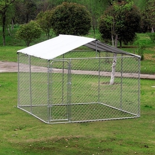 Pawhut 10'x10' Outdoor Chain Link Dog Kennel with Weather-Resistant Roof & Heavy Duty Expandable Commercial Grade Design