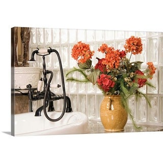 """Flowers in bathroom"" Canvas Wall Art"