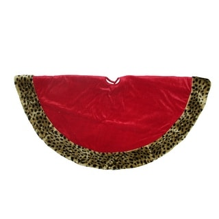 "48"" Safari Red and Brown Velveteen with Plush Cheetah Print Christmas Tree Skirt"