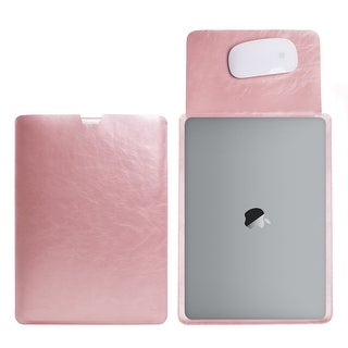MacBook 12 inch with Retina Display Protective Soft Sleek Sleeve Cover Carrying Bag with Exterior Mouse Pad (Rose Gold)