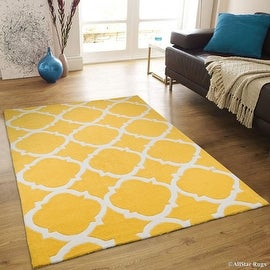 "AllStar Rugs Canary Hand Made Modern. Transitional design Area Rug with Dimensional hand-carving highlights (4' 11"" x 6' 11"")"