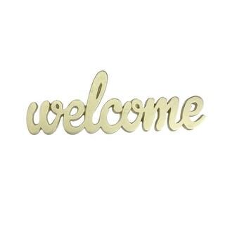9 Elegant Indoor Shimmering Gold Tone Cursive Welcome Cut-Out Decoration