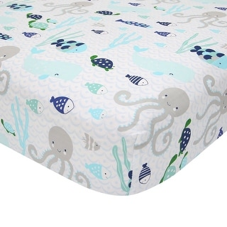 Lambs & Ivy Oceania 100% Cotton Blue/Gray/White Whale with Octopus and Fish Nautical Ocean Theme Fitted Crib Sheet