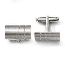 Chisel Brushed Titanium Cuff Links