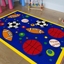"AllStar Rugs Kids Area Rug. Sports. Football. Basketball. Soccer and Baseball. Bright Colors (3' 3"" x 4' 10"")"