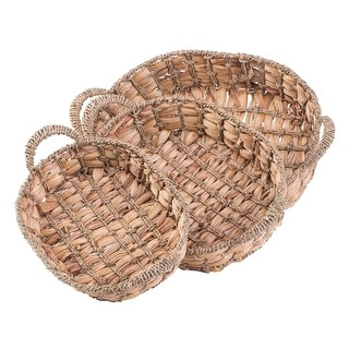 Seagrass Fruit Bread Basket Tray with Handles
