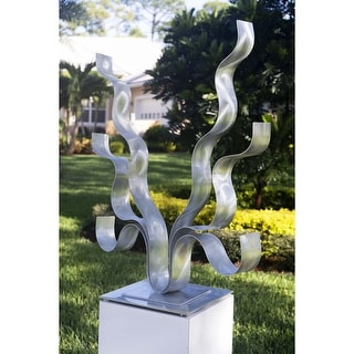 Statements2000 Modern Metal Art Sculpture Abstract Indoor Outdoor Decor by Jon Allen - Reaching Out Flat Base