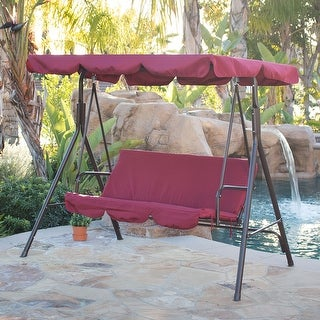 BELLEZE Porch Swing Sunlight Protection 3 Seat Glider Burgundy - standard