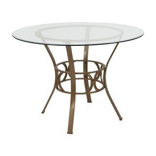 Lancaster Home Glass and Metal 42-inch Round Dining Table