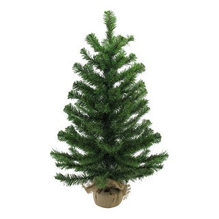 "28"" Balsam Pine Medium Artificial Christmas Tree in Burlap Base - Unlit - 2 Foot"