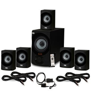 Acoustic Audio 5.1 Bluetooth Speaker System Optical Input and 4 Extension Cables