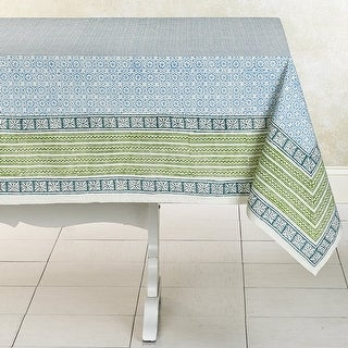DELIGHT SEA Handmade Hand Block Printed Cotton Table Cloth (India)