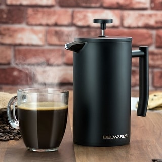 Stainless Steel Large French Press Coffee Maker with Extra Filters