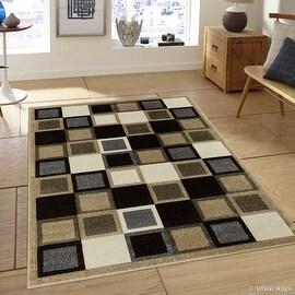 "Allstar Brown / Beige Modern Geometric Grey square design Area Rug (5' 2"" x 7' 2"")"