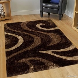 Allstar Brown Shaggy Area Rug with 3D Brown Circle Design. Contemporary Formal Hand Tufted (5' x 7')